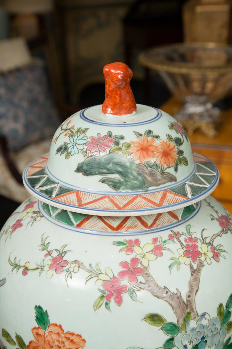 20th Century Near Pair of Chinese Lidded Urns For Sale