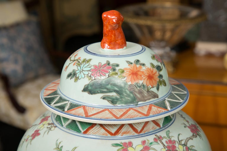 Ceramic Near Pair of Chinese Lidded Urns For Sale
