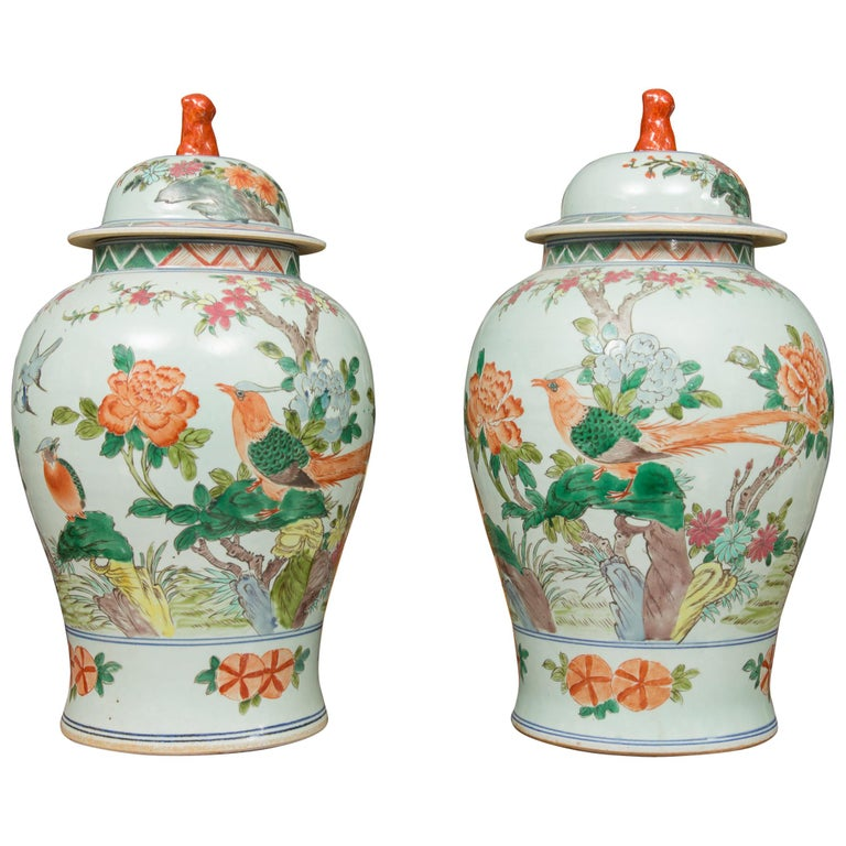 Near Pair of Chinese Lidded Urns For Sale