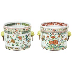 Near Pair of Chinese Porcelain Famille Verte Cachepots