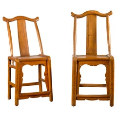 Near Pair of Chinese Qing Dynasty 19th Century Yoke High Back Decorative Chairs
