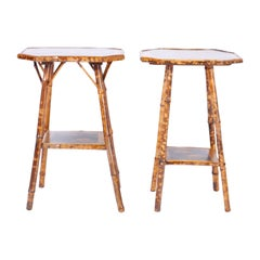 Near Pair of English British Colonial Bamboo Tables
