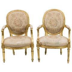 Near Pair of French Gilt Armchairs