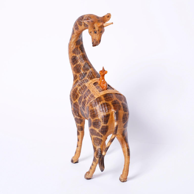Near Pair of Giraffe Woven Wicker Boxes For Sale 1