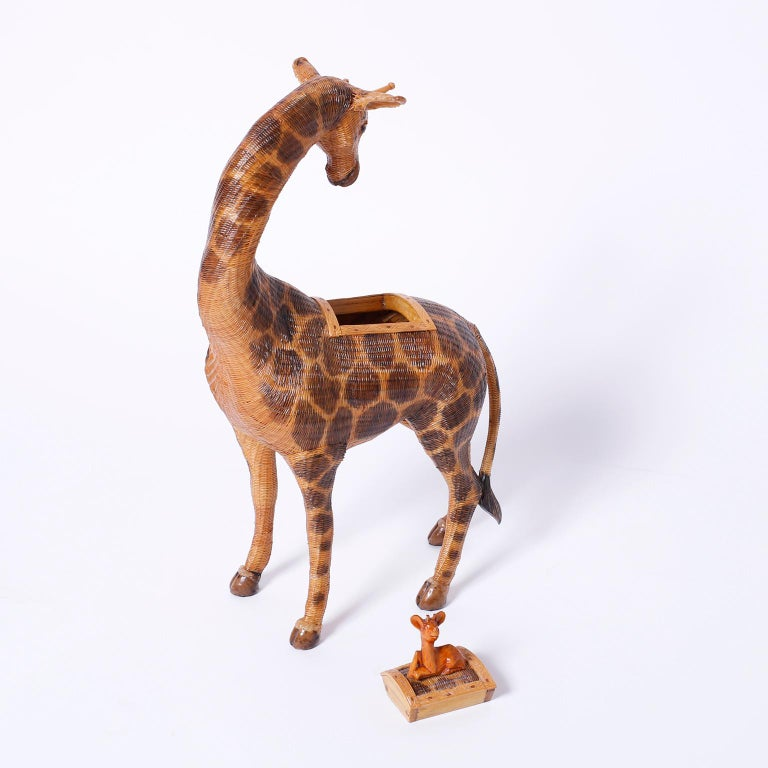 Near Pair of Giraffe Woven Wicker Boxes For Sale 2