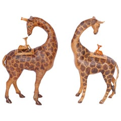Near Pair of Giraffe Woven Wicker Boxes