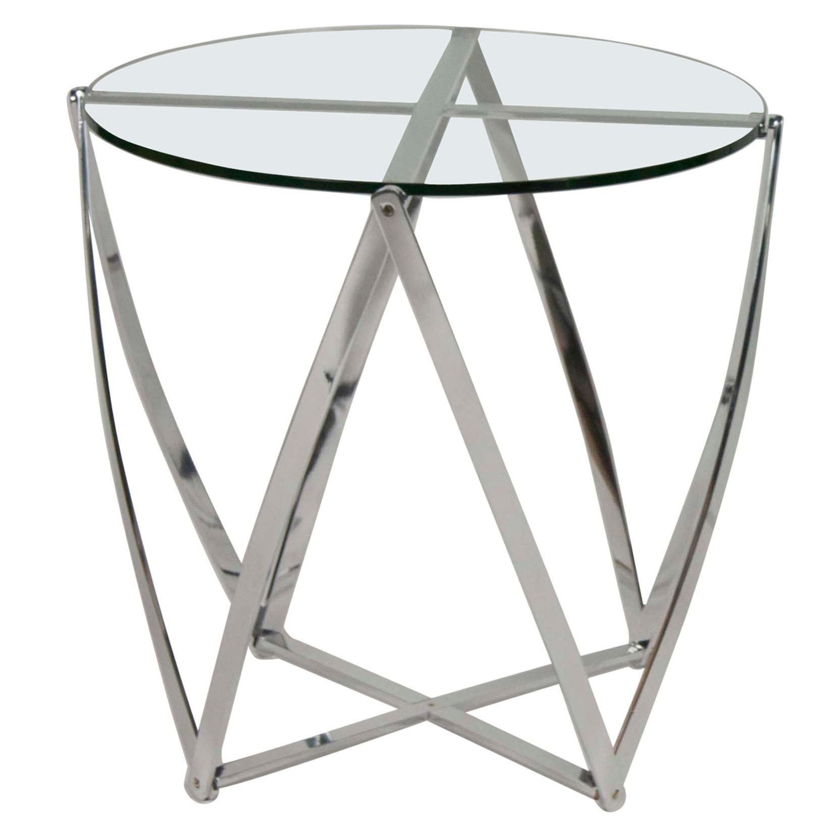 A Pair of John Vesey Aluminum Glass Top Side Tables
