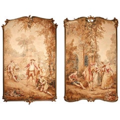 Near Pair of Large Aubusson Tapestry Panels after Fragonard