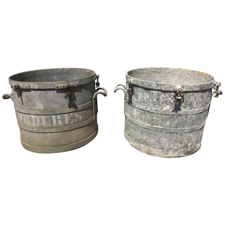 Near Pair Of Large French Industrial Galvanized Zinc Tub Planters At