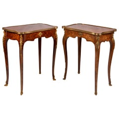 Near Pair of Linke Influenced Louis XVI Style Side Tables, Late 19th Century