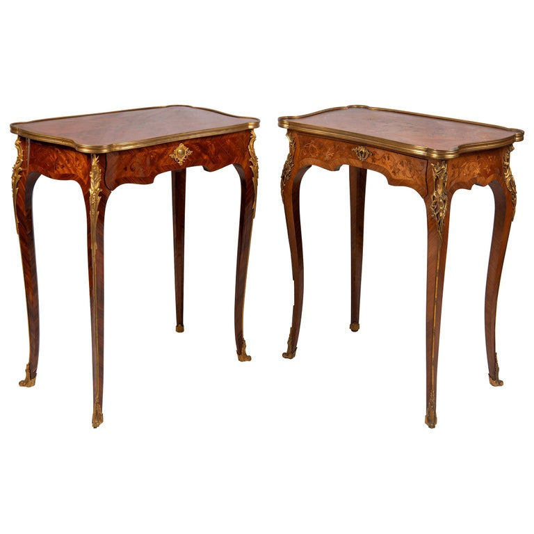 Near Pair of Linke Influenced Louis XVI Style Side Tables, Late 19th Century For Sale
