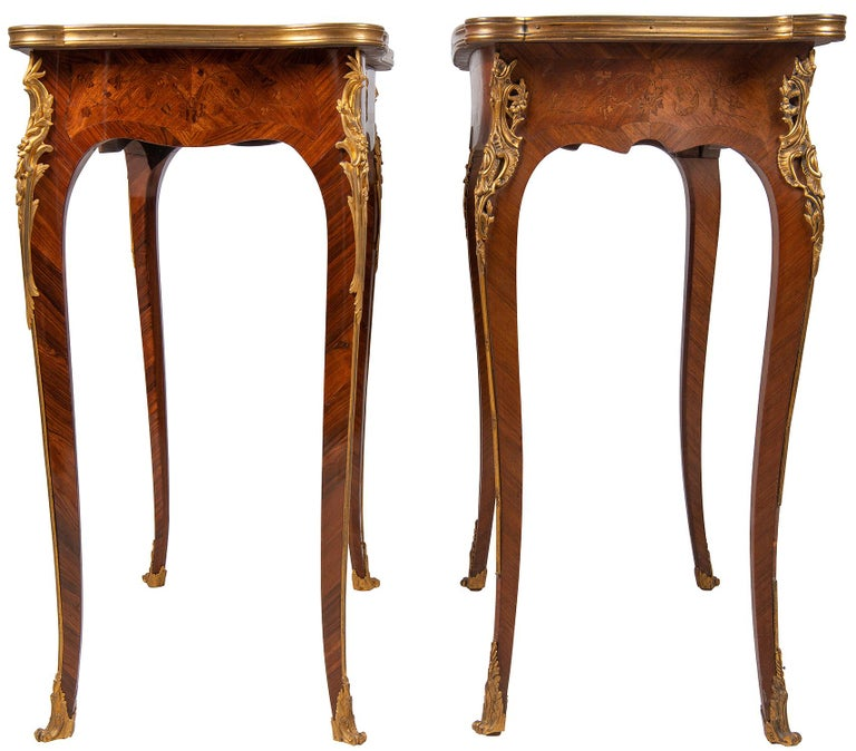 French Near Pair of Linke Influenced Louis XVI Style Side Tables, Late 19th Century For Sale