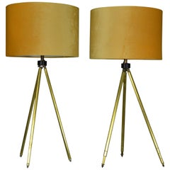 Near Pair of Midcentury Brass Telescopic Tripod Table Lamps