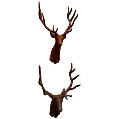 Near Pair of Outdoor Weathered Cast Iron Wall Hung Stags Heads