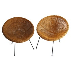 Near Pair of Rattan Lounge Chairs in the Style of Franco Albini