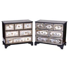 Near Pair of Venetian Églomisé Mirrored Chests with Reverse Paintings