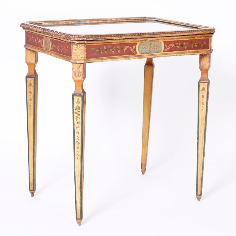Near Pair of Venetian Painted Neoclassical Style Tables For Sale 3
