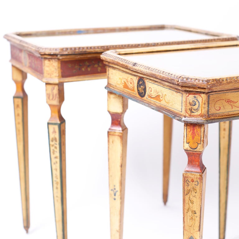 Italian Near Pair of Venetian Painted Neoclassical Style Tables For Sale