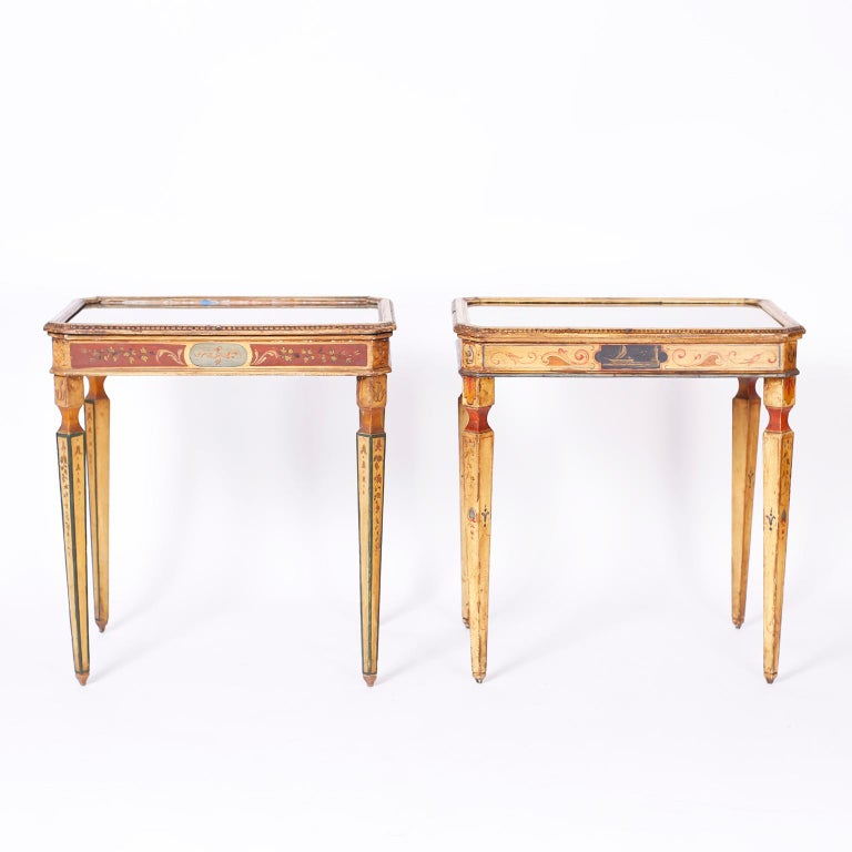 Hand-Painted Near Pair of Venetian Painted Neoclassical Style Tables For Sale