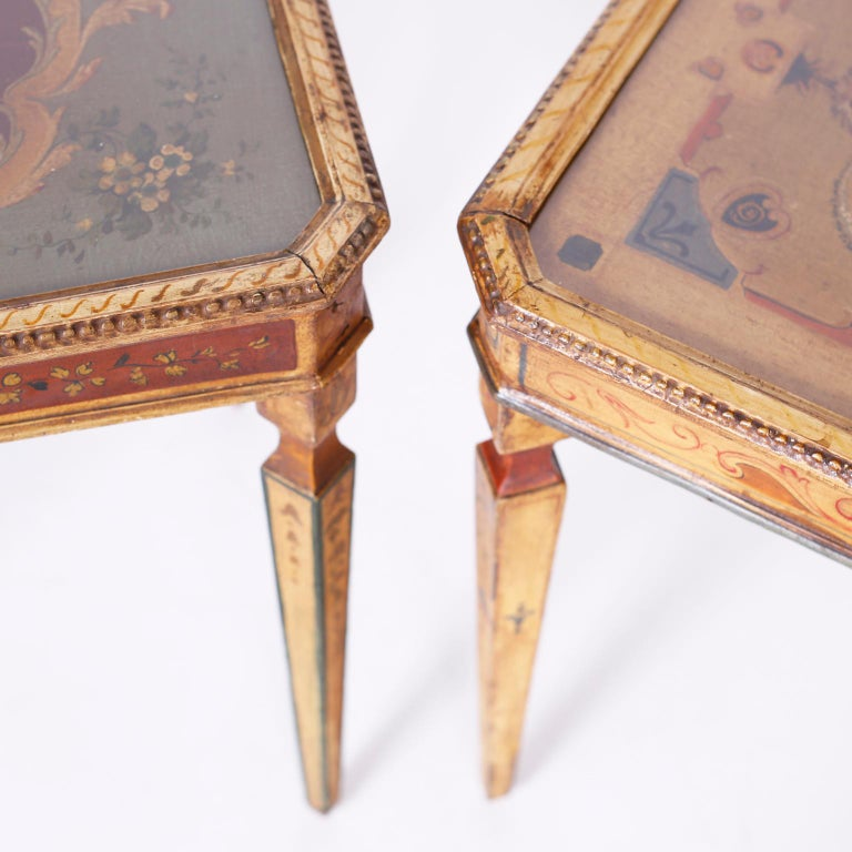 19th Century Near Pair of Venetian Painted Neoclassical Style Tables For Sale
