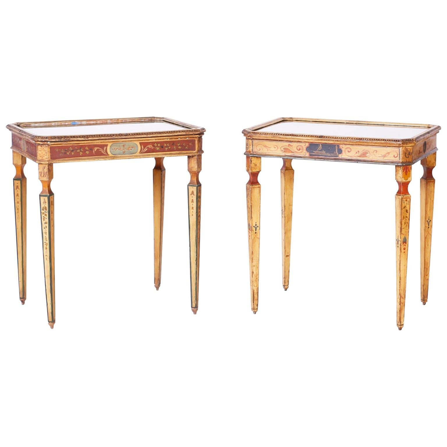 Near Pair of Venetian Painted Neoclassical Style Tables
