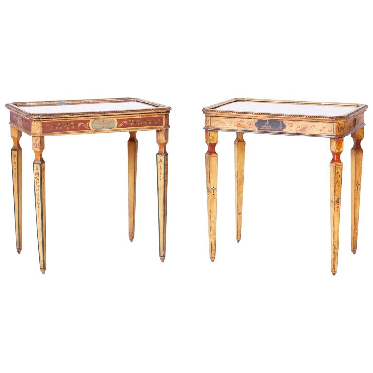 Near Pair of Venetian Painted Neoclassical Style Tables For Sale
