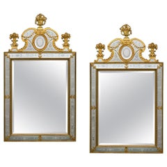 Near Pair of Victorian Period Ormolu Mounted and Engraved Mirrors
