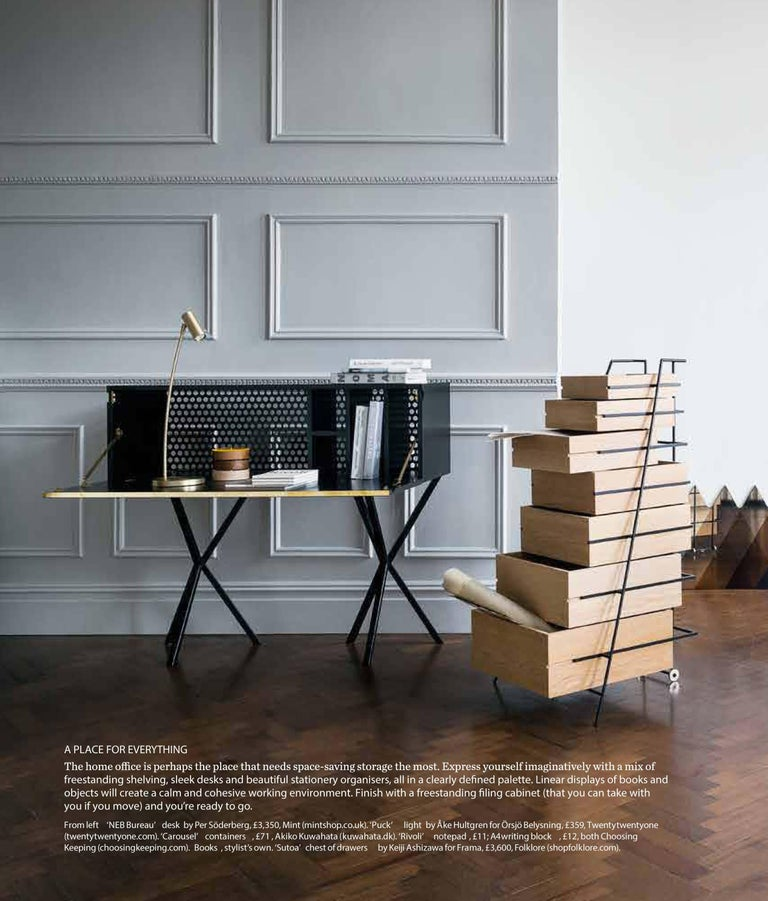 Neb Bureau Contemporary Desk with Flip Door Front in Brass by Per Soderberg In New Condition For Sale In Stockholm, SE