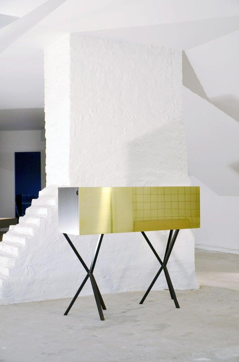 Neb Bureau Contemporary Desk with Flip Door Front in Brass by Per Soderberg For Sale 1