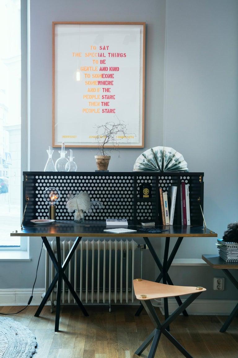 Neb Bureau Contemporary Desk with Flip Door Front in Brass by Per Soderberg For Sale 2