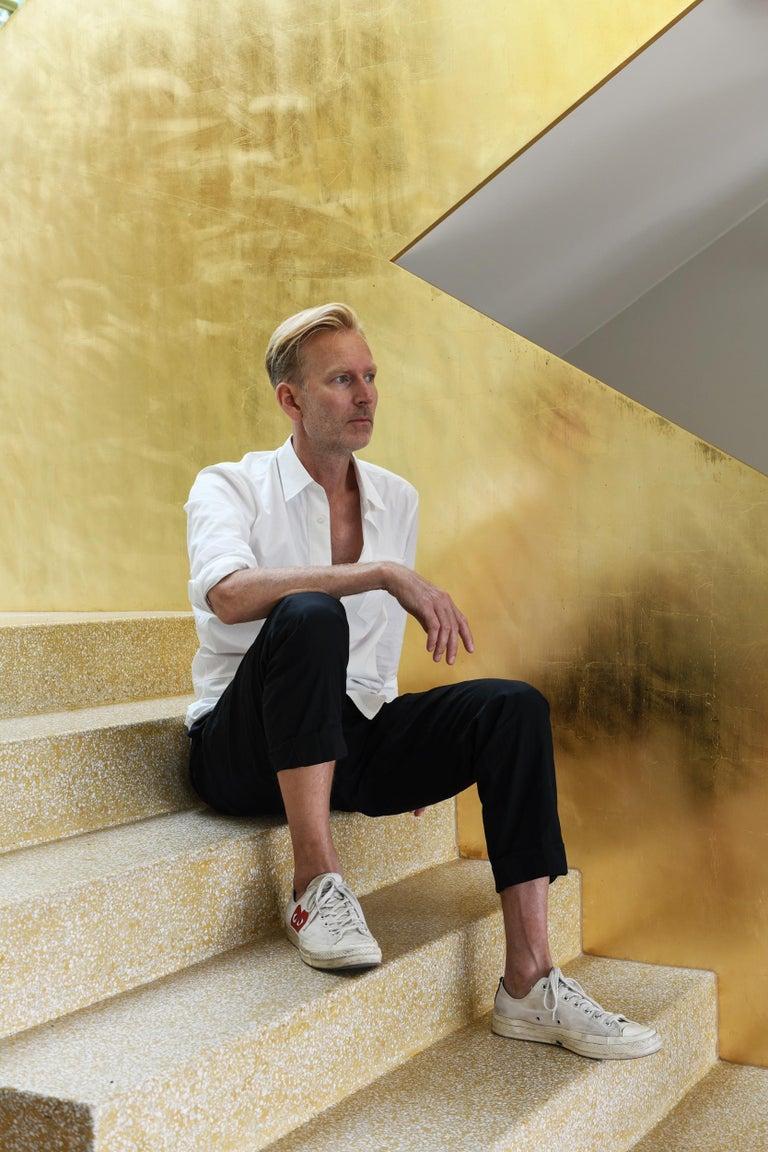 Neb Bureau Contemporary Desk with Flip Door Front in Brass by Per Soderberg For Sale 3