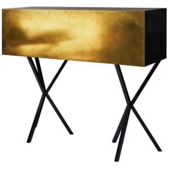 Neb Bureau Contemporary Desk with Flip Door Front in Brass by Per Soderberg