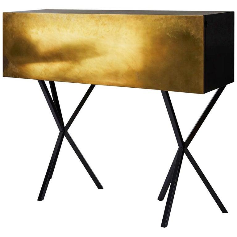 Neb Bureau Contemporary Desk with Flip Door Front in Brass by Per Soderberg For Sale