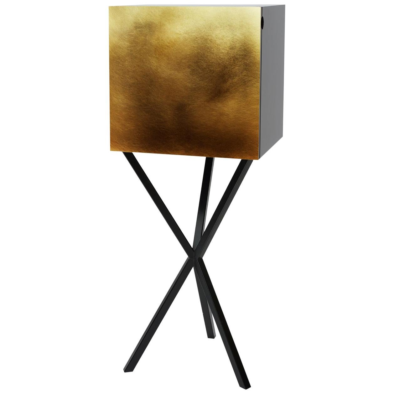 Neb Contemporary Bar Unit with Flip Door Front in Brass by Per Soderberg