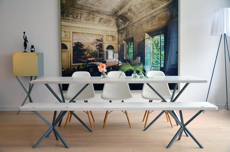 Scandinavian Modern Neb Contemporary Dining Table with Laminate Top and Metal Legs by Per Soderberg For Sale