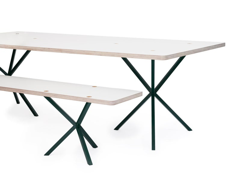 Swedish Neb Contemporary Dining Table with Laminate Top and Metal Legs by Per Soderberg For Sale