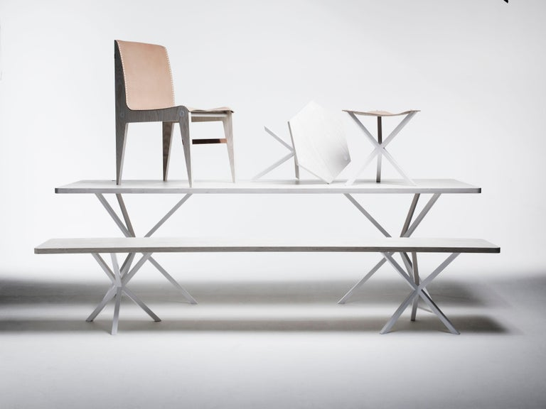 Powder-Coated Neb Contemporary Dining Table with Laminate Top and Metal Legs by Per Soderberg For Sale