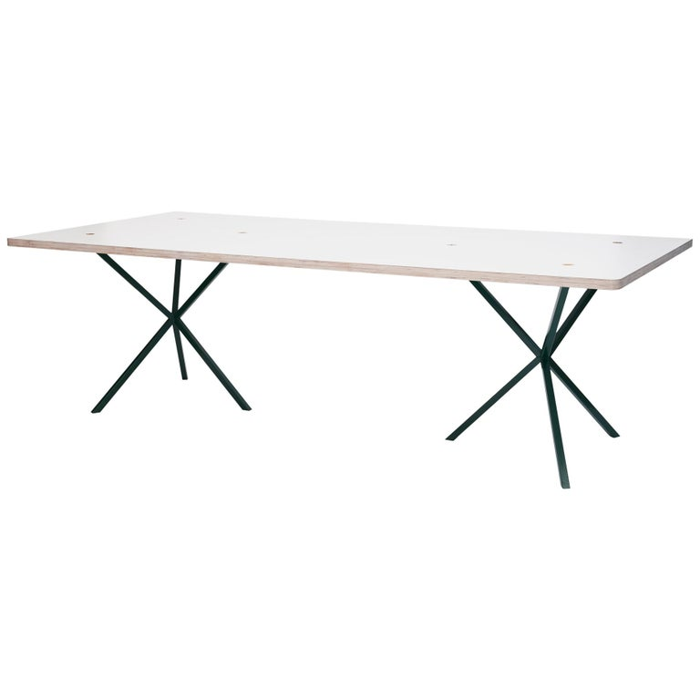 Neb Contemporary Dining Table with Laminate Top and Metal Legs by Per Soderberg For Sale