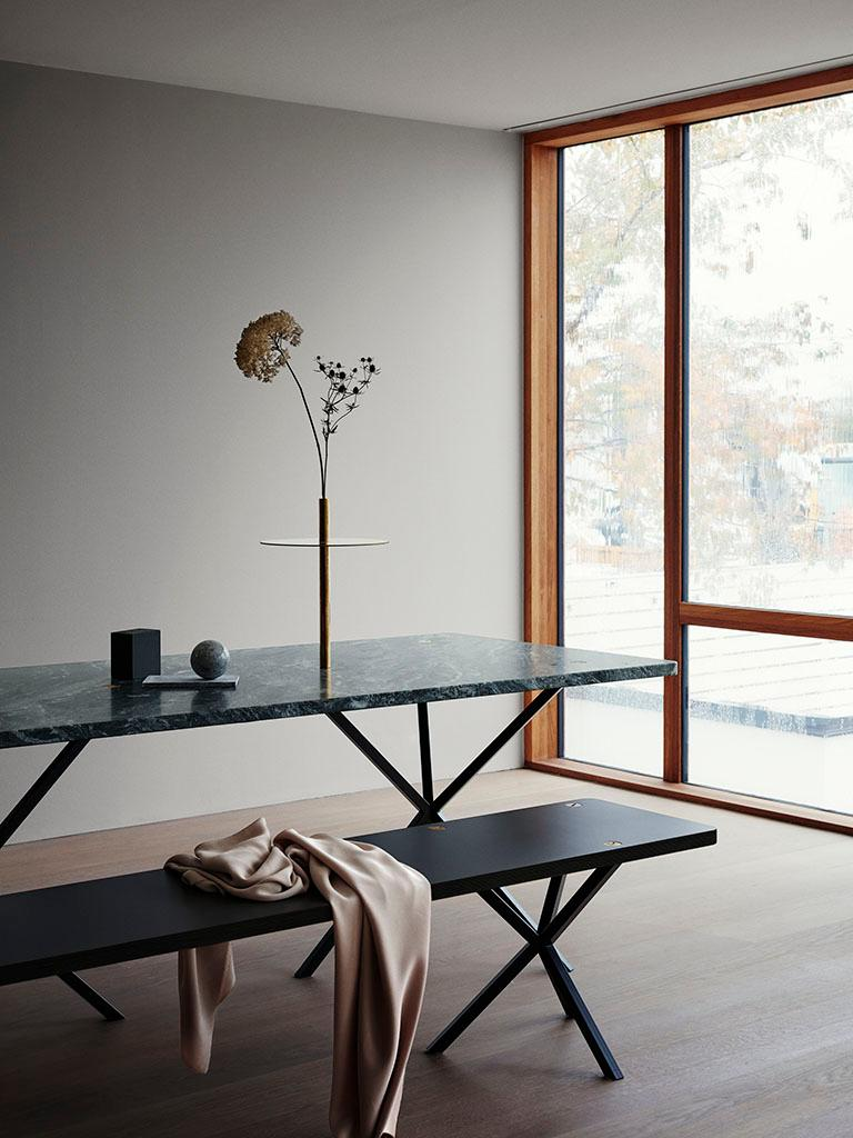 Swedish Scandinavian Contemporary Dining Table in Italian Granite made in Sweden For Sale
