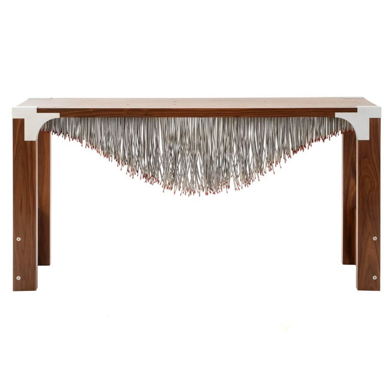 Modern Industrial Hall table with Metal Cable and Walnut Wood For Sale
