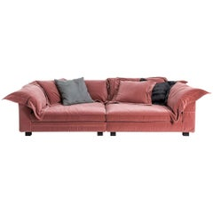 """""""Nebula Nine"""" Cotton Linen Leather and Velvet Covered Sofa by Moroso & Diesel"""