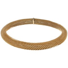 Necklace 18 Carat Gold of Woven Design French, circa 1950