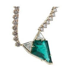 Necklace 18 Yellow Gold with 11.49 Carat Emerald & Brown and White Diamonds