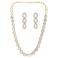 Necklace and Earrings with Diamonds Handcrafted in 18 Karat Yellow Gold