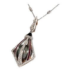 Necklace and Pendant with Diamonds, Rubies and Tahitian Pearl, 18 Karat