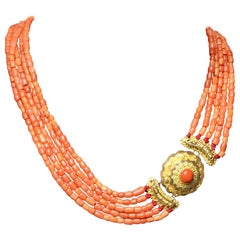 Necklace, Antique, Mediterranean Red Coral, Gold, Netherlands