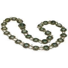 Necklace, Antique, Silver, Rhinestone, 1850