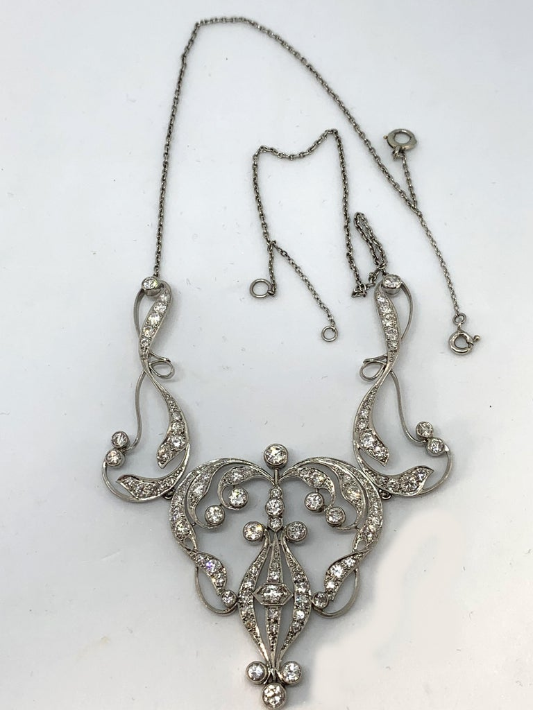 Old European Cut Necklace Art Nouveau Platinum Diamond Necklace For Sale