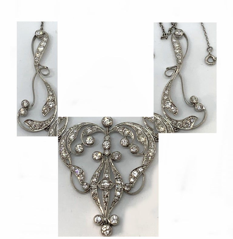 Necklace Art Nouveau Platinum Diamond Necklace In Excellent Condition For Sale In Glasgow, Glasgow