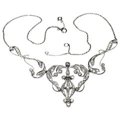 Necklace Art Nouveau Platinum Diamond Necklace